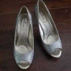 Bandolino Silver glitter peep toe pumps